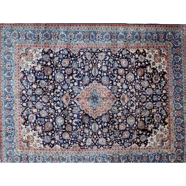 "Leon Banilivi Navy Persian Kashan Carpet - 9'8"" X 12'6"" - Image 3 of 6"