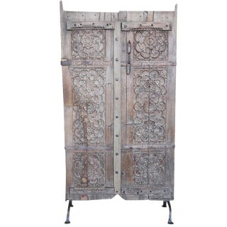 Anglo Indian Carved Teak Doors - A Pair