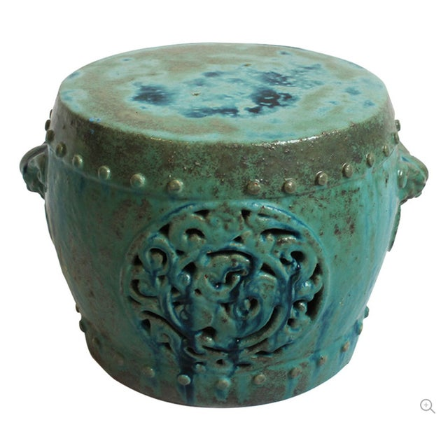 Turquoise Ceramic Garden Stool Chairish