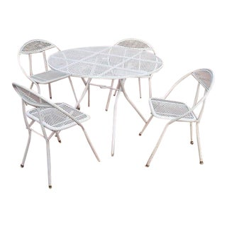Vintage Mid Century Modern Folding Patio Dining Set