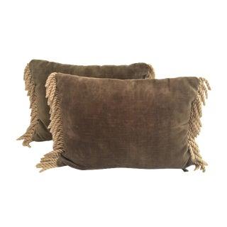 Taupe Velvet Tassel Pillows - A Pair