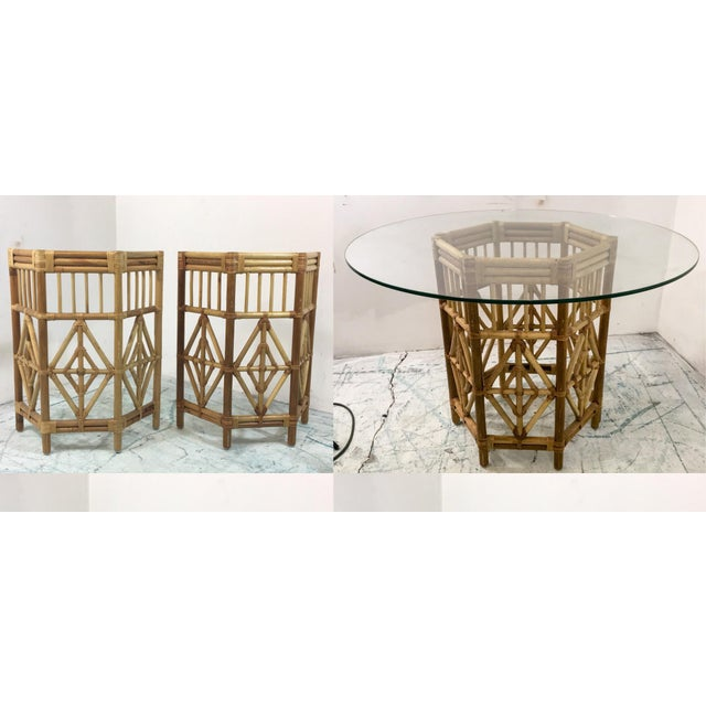 Pair of Rattan Consoles or Center Table - Image 4 of 5