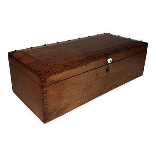 Antique Oak Wood Box With Hand Cut Dovetails