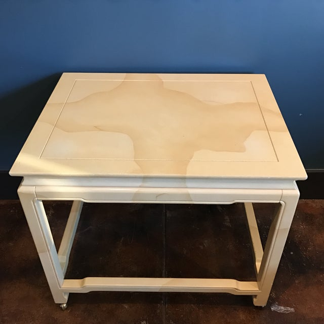 Image of Henredon Chinoiserie Goatskin Lacquer Table
