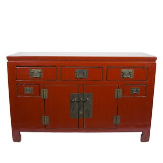 Red Chinese Sideboard Cabinet