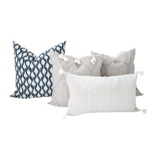 Indigo Blue and Gray Handwoven Mayan Pillows - Set of 4