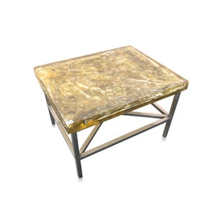 "Modern ""Shattered Dreams"" Cracked Resin Coffee Table"