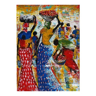 """Large Rwanda African """"Women at the Market"""" Acrylic Painting by J d'Amour"""