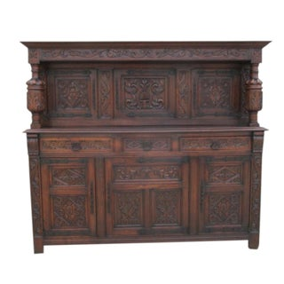 French Antique Oak Carved Court Cupboard Sideboard Cabinet