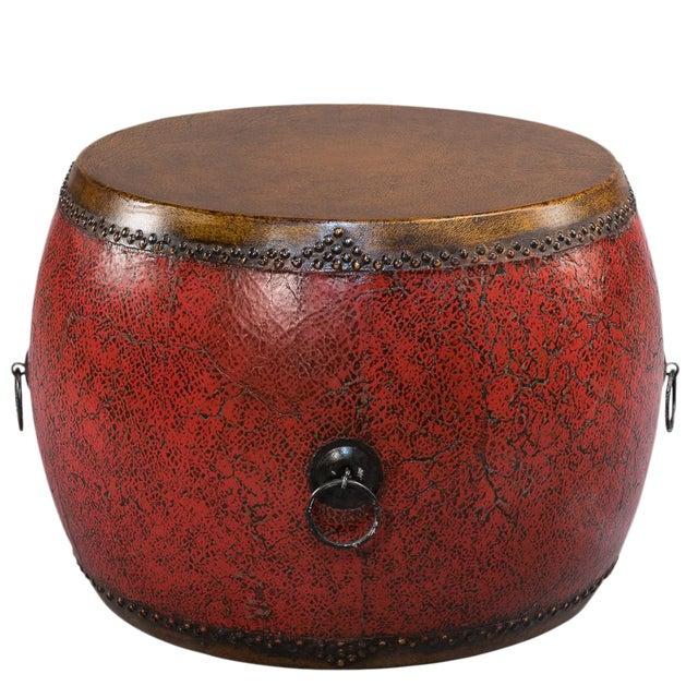 Sarreid Ltd. Red Drum Side Table - Image 1 of 3