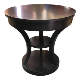 Round Black Lacquered Side Table