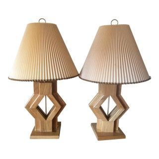 Wood & Brass Retro Vintage Lamps - A Pair