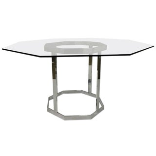 Octagon Chrome & Glass Dining Table