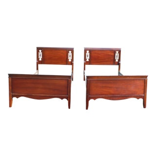 Vintage Dixie Mahogany Twin Sleigh Beds - Pair