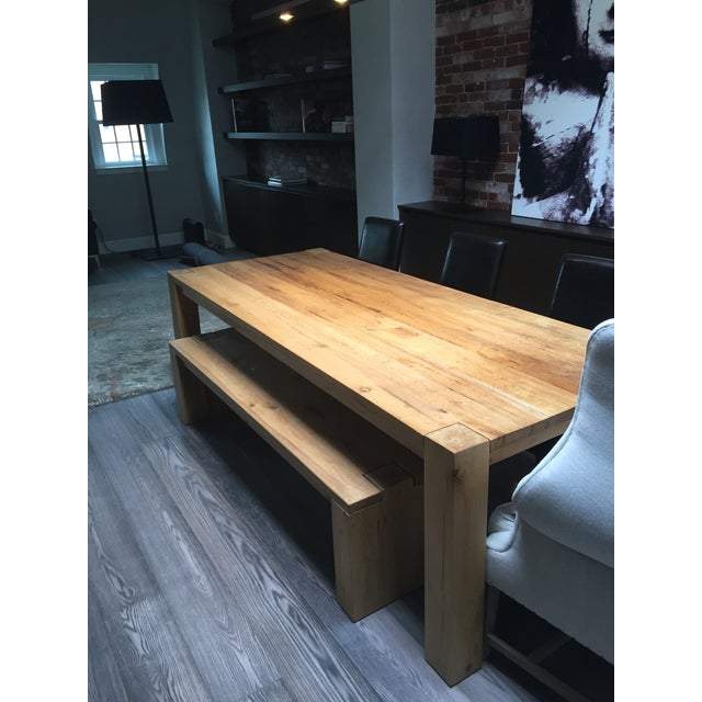 Reclaimed Russian Oak Parsons Table and Bench - Image 4 of 4