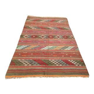Vintage Turkish Kilim Rug - 5′5″ × 9′