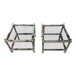 Maison Jansen Style Chrome & Brass Double Tier Side Tables - a Pair