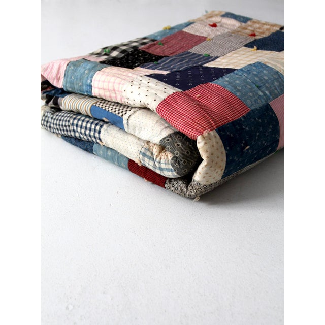 Vintage Hand-Tied Patchwork Quilt - Image 10 of 10