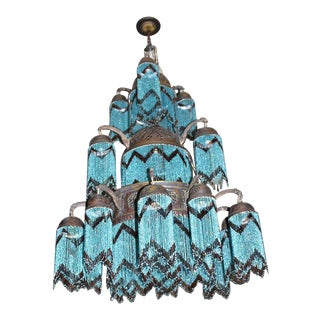 Vintage 3-Tier Turquoise Beaded Brass Chandelier