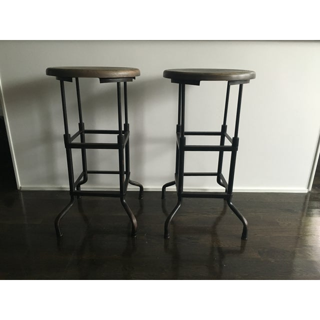 restoration hardware industrial bar stools pair chairish. Black Bedroom Furniture Sets. Home Design Ideas