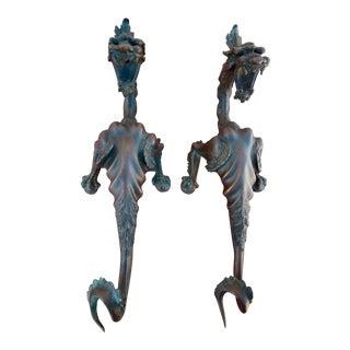 Vintage Bronze Dragons - A Pair