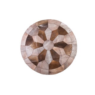 Cowhide Patchwork Round Area Rug - 7'x7'