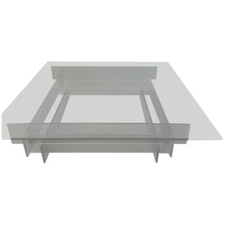 Sculptural Stacked Smoked Lucite Coffee Table