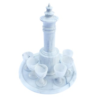 Neo-Classical Marble Decanter Set - S/8