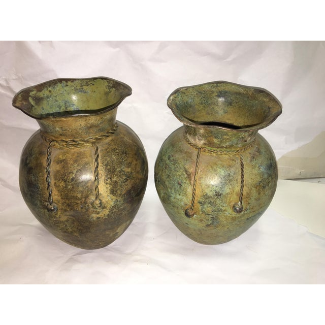 Antiqued Copper Finish Vases - A Pair - Image 2 of 7
