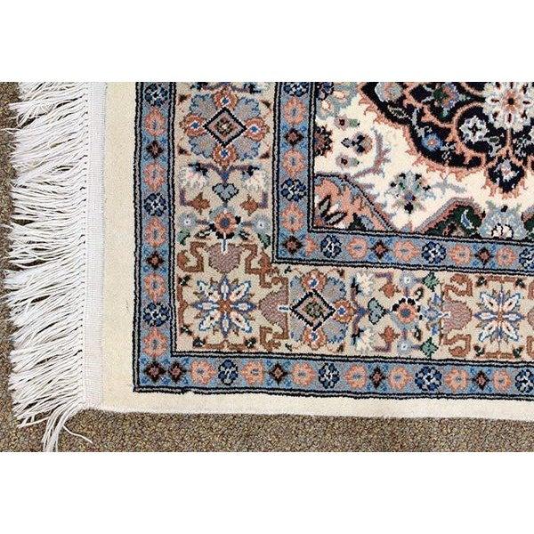 """Blue & Ivory Tabriz Runner Rug - 9'10"""" x 2'9"""" - Image 3 of 4"""