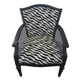Zebra Print Cane Arm Chair