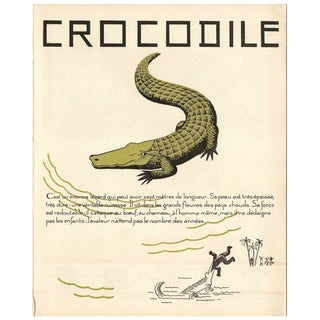 1930s French Art Deco Crocodile Giclee Print