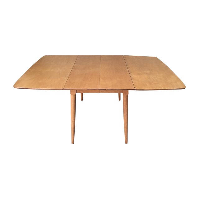 Mid-Century Modern Drop Leaf Wood Table - Image 1 of 8
