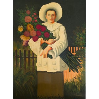 Woman With Flowers Oil Painting