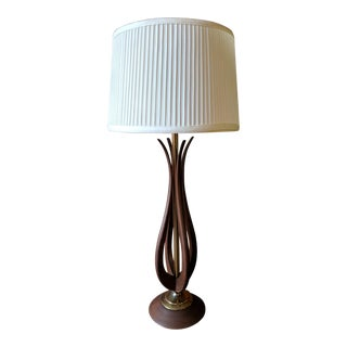 Mid Century Walnut and Brass Table Lamp