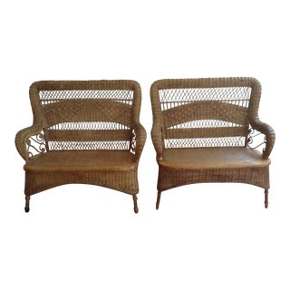 Larkin & Co Victorian Natural Wicker Loveseats - a Pair