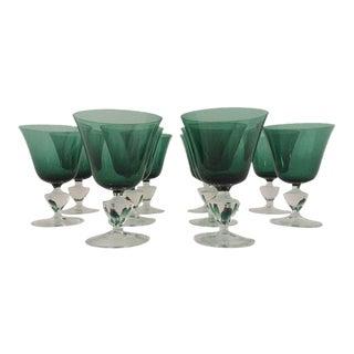Emerald & Clear Bar Glasses - Set of 10