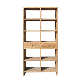 Rustic Wood Open Shelf Bookcase Display Cabinet