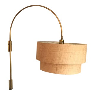 Grasscloth & Brass Swinging Wall Sconce