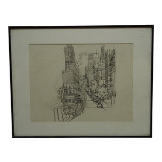 "Framed & Matted Original Sketch ""Van Ness Ave. - California"" by Koel"
