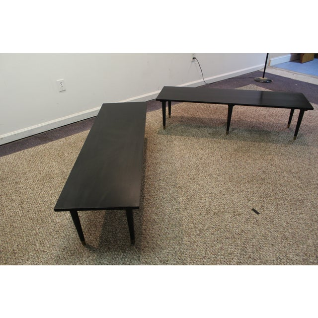 Mid Century Modern Ebonized Coffee Tables - Pair - Image 2 of 11