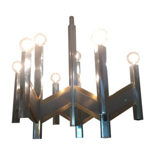 Chrome & Brass 9-Light Chandelier by Sciolari