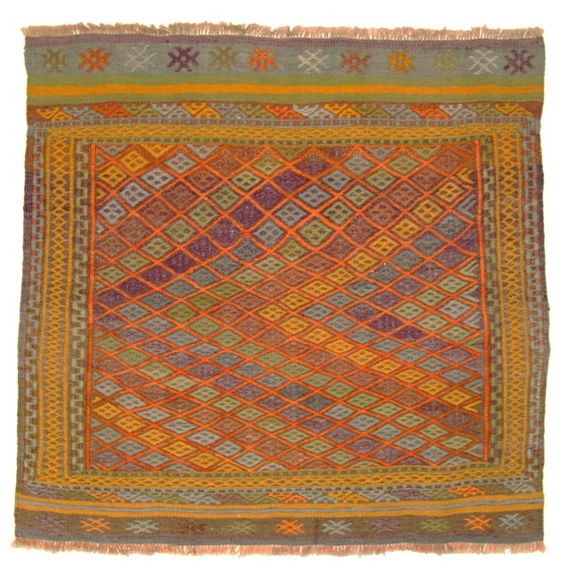 Bright & Colorful Vintage Turkish Kilim - 2'9 X 3' - Image 1 of 3