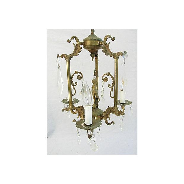 1950s Crystal 3 Arm Chandelier - Image 5 of 8
