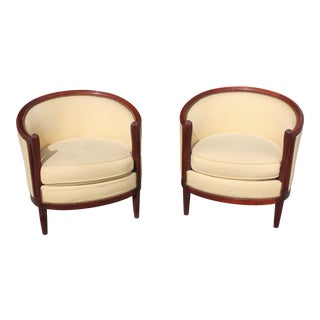 French Art Deco Club Chairs Solid Mahogany Attributed By Paul Follot Circa 1940s - a Pair