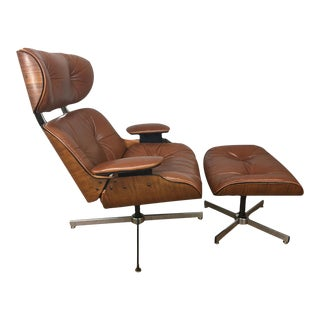 Plycraft Brown Leather Lounge Chair & Ottoman