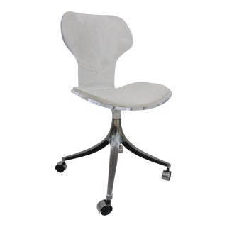 1960s Lucite & Chrome Swivel Desk Chair