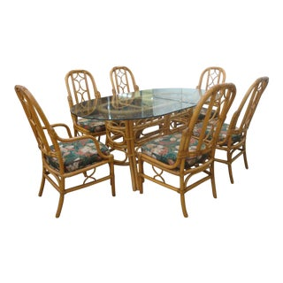 Vintage McGuire Style Rattan Leather And Glass Dining Table 6 Chairs