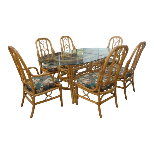 Rattan Dining Table And Chairs: Vintage McGuire Style Rattan, Leather And Glass Dining