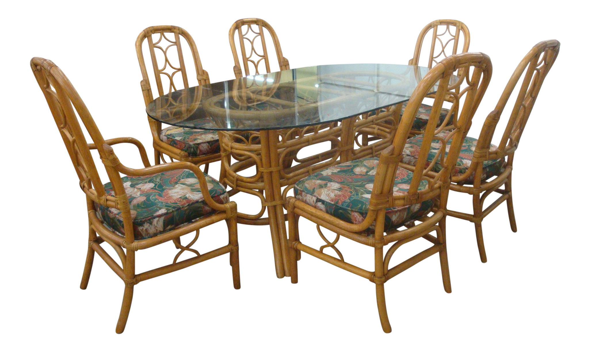 Vintage McGuire Style Rattan, Leather And Glass Dining Table U0026 6 Chairs
